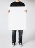 Hombre con el tablero blanco en blanco Fotografía de archivo libre de regalías