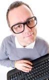 Hombre con el teclado Imagen de archivo libre de regalías