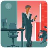 Hombre con el teléfono stock de ilustración
