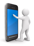 Hombre con el teléfono en blanco. 3D aislado Foto de archivo