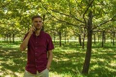 Hombre con el teléfono móvil en parque del verano Hombre hermoso joven con el SM Imagenes de archivo