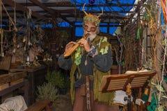 Hombre con el traje medieval y la máscara, tocando la flauta Imagenes de archivo