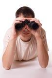 Hombre con el vidrio de campo Foto de archivo libre de regalías