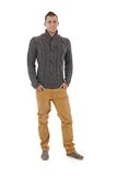 Hombre con estilo en suéter del otoño Fotografía de archivo