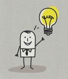 Hombre con idea y la bombilla Imagen de archivo libre de regalías