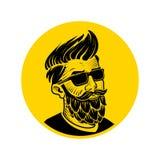 Hombre con la barba bajo la forma de emblema del vector del salto