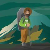 Hombre con la barba grande y mochila en las montañas ilustración del vector
