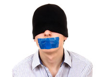 Hombre con la boca sellada Imagen de archivo