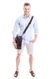 Hombre con la bolsa de mensajero Imagen de archivo libre de regalías