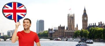 Hombre con la burbuja del texto de la bandera británica en Londres Fotografía de archivo libre de regalías