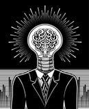 Hombre con la cabeza en forma de bombilla y de cerebro Concepto surrealista de generador de la idea libre illustration
