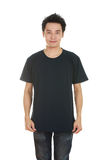 Hombre con la camiseta en blanco Fotografía de archivo libre de regalías