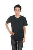 Hombre con la camiseta en blanco Fotos de archivo libres de regalías