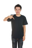 Hombre con la camiseta en blanco Imágenes de archivo libres de regalías