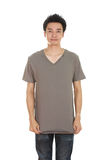 Hombre con la camiseta en blanco Fotos de archivo