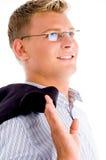 Hombre con la capa y eyewear imagen de archivo libre de regalías