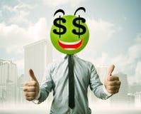 Hombre con la cara del smiley de la muestra de dólar Imagenes de archivo