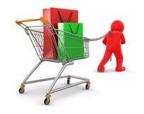 Hombre con la cesta de compras (trayectoria de recortes incluida) Fotos de archivo