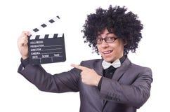 Hombre con la chapaleta de la película Foto de archivo libre de regalías