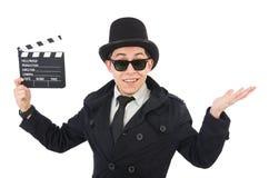 Hombre con la chapaleta de la película Fotos de archivo libres de regalías