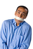 Hombre con la cinta del conducto imagen de archivo libre de regalías
