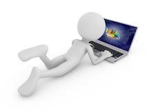 Hombre con la computadora portátil Fotografía de archivo