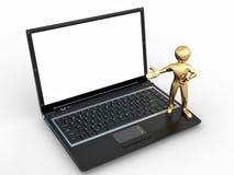 Hombre con la computadora portátil en el fondo aislado blanco