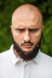 Hombre con la decoración en barba Foto de archivo