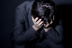 Hombre con la depresión foto de archivo libre de regalías