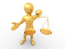 Hombre con la escala. Símbolo de la justicia Fotos de archivo libres de regalías