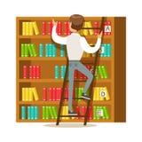 Hombre con la escalera que busca para un libro en el estante, ejemplo sonriente de Person In The Library Vector Fotografía de archivo