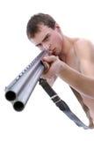 Hombre con la escopeta Imagen de archivo