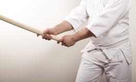 Hombre con la espada de madera Imágenes de archivo libres de regalías