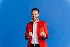Hombre con la expresión facial feliz Imagen de archivo libre de regalías