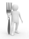 Hombre con la fork en el fondo blanco Fotografía de archivo libre de regalías