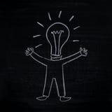 Hombre con la idea creativa (hombre-bulbo) Imagen de archivo