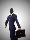 Hombre con la máscara aislada en blanco fotos de archivo libres de regalías