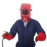 Hombre con la máscara de la soldadura Imagenes de archivo