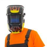 Hombre con la máscara de la soldadura Foto de archivo libre de regalías