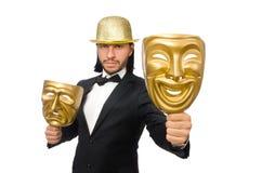 Hombre con la máscara del teatro aislada en blanco Fotografía de archivo libre de regalías