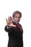 Hombre con la mano abierta aislada Fotos de archivo