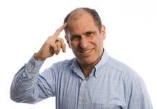 Hombre con la mano a la pista Imágenes de archivo libres de regalías