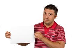 Hombre con la muestra en blanco Foto de archivo libre de regalías