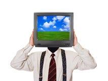 Hombre con la pantalla de la TV para la cabeza Foto de archivo