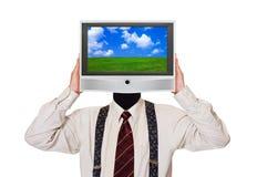 Hombre con la pantalla de la TV para la cabeza Fotografía de archivo libre de regalías