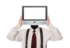 Hombre con la pantalla de la TV para la cabeza Fotos de archivo libres de regalías