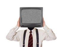 Hombre con la pantalla ruidosa de la TV para la cabeza Imágenes de archivo libres de regalías