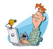 Hombre con la PC de la computadora portátil Imágenes de archivo libres de regalías