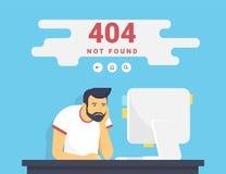 Hombre con la PC que sienta en casa error no encontrado de 404 páginas Imagen de archivo libre de regalías