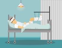 Hombre con la pierna quebrada y la mano en hospital Ilustración del vector Foto de archivo